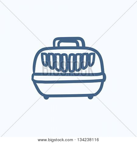 Pet carrier box vector sketch icon isolated on background. Hand drawn Pet carrier box icon. Pet carrier box sketch icon for infographic, website or app.