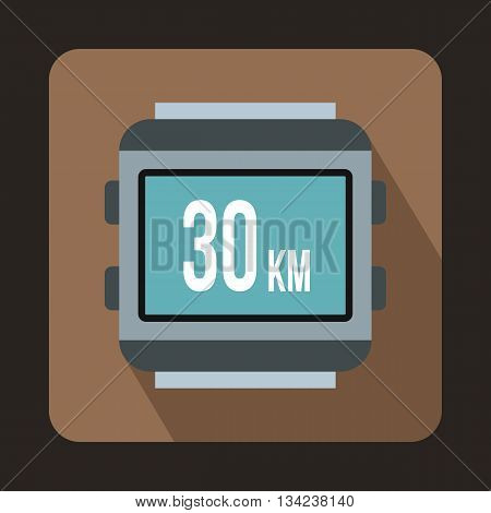 Speedometer bike icon in flat style with long shadow. Device symbol