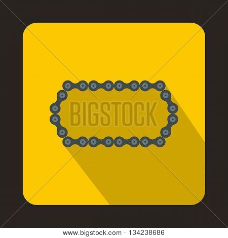 Bicycle chain icon in flat style with long shadow. Device symbol