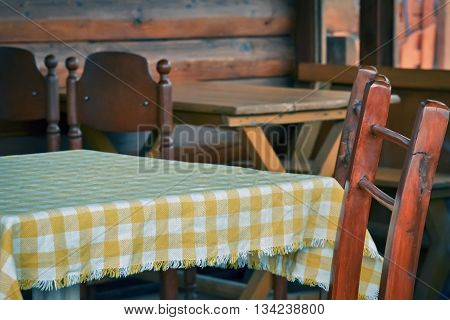 Closeup of a chair and table in the old style brasserie