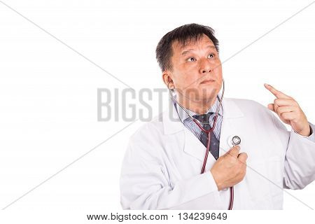 Matured Asian Medical Doctor Listening To Own Heartbeat Using Stethoscope