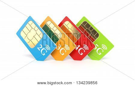 Set of color SIM cards with 2g 3g 4g 5g technology icon isolated on white background. 3d rendering illustration