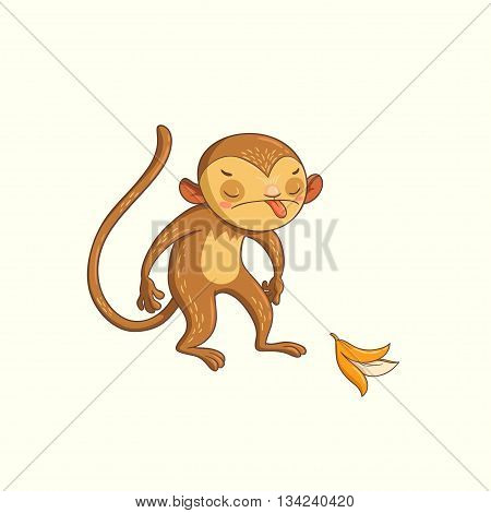 monkey showing tongue. vector hand drawn illustration