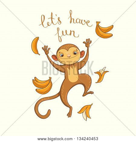 Let's have fun. vector illustration with funny jumping monkey