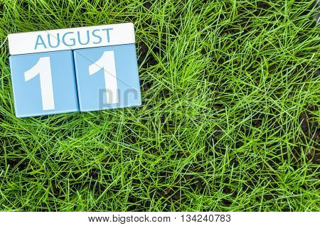 August 11th. Image of august 11 wooden color calendar on green grass lawn background. Summer day. Empty space for text.