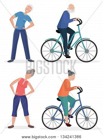 Fitness sport healthy old people grandparents couples set. Senior man and woman pedal bicycle
