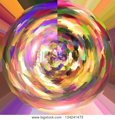 Abstract coloring background of the square wood frame gradient with visual poolar coordinates effects