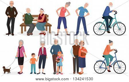 Old people in different activities situations collectoion. Grandparents couples set