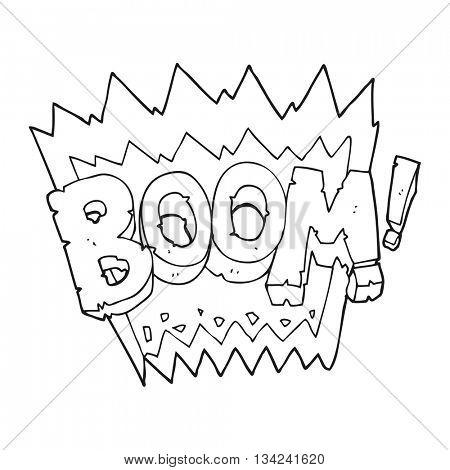 freehand drawn black and white cartoon boom symbol