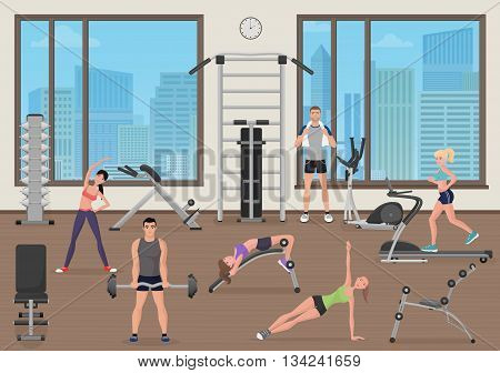 People training in gym. Fitness sport place. Man and woman man workout in gym
