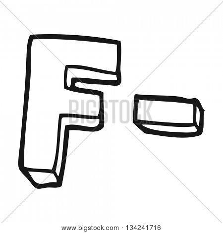 freehand drawn black and white cartoon F grade