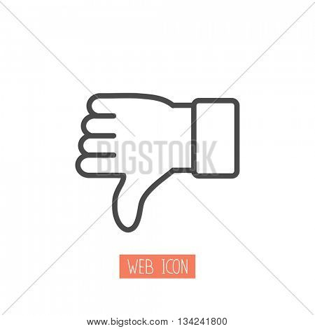 Thumbs down dislike / hate or thumbs down dislike for social networks line art icon for apps and websites