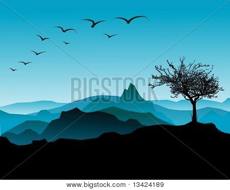 Silhouette of the tree, with mountains in the background
