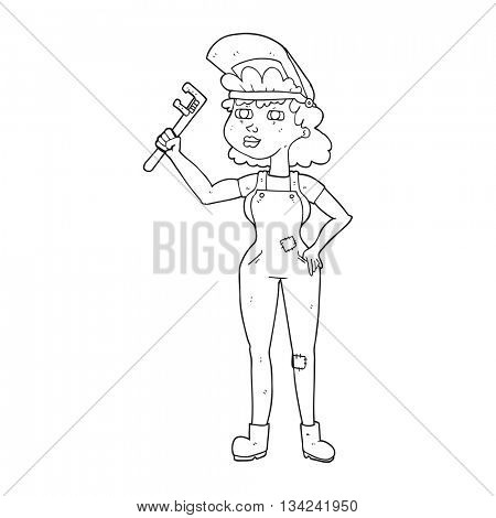 freehand drawn black and white cartoon capable woman with wrench