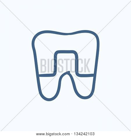 Crowned tooth vector sketch icon isolated on background. Hand drawn Crowned tooth icon. Crowned tooth sketch icon for infographic, website or app.