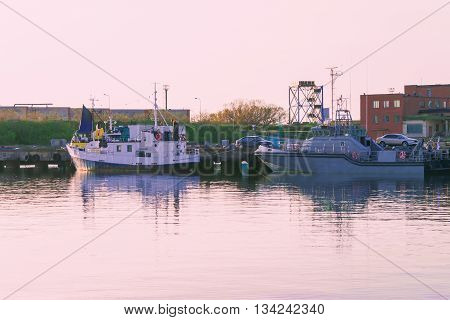 Ventspils, Latvia - May 8, 2016: Boats in the Marina in Ventspils. Ventspils a city in the Courland region of Latvia. Latvia is one of the Baltic countries