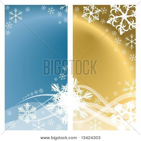 Christmas background with white snowflakes and place for your text (two colors, two pages)