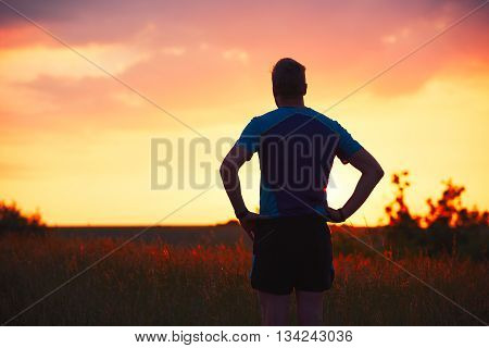 Pensive Runner At The Sunset