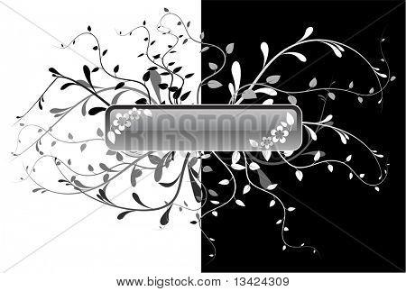 Schaltfläche mit floralen Elementen auf schwarzen und weißen Hintergrund