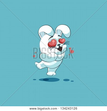 Vector Stock Illustration isolated Emoji character cartoon White leveret in love flying with hearts sticker emoticon for site, info graphic, video, animation, websites, e-mails, newsletters, reports, comics