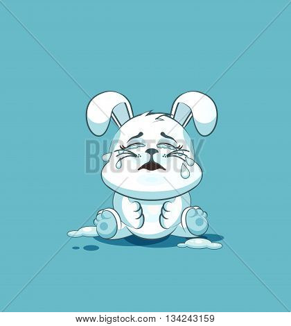 Vector Stock Illustration isolated Emoji character cartoon White leveret crying, lot of tears sticker emoticon for site, info graphic, video, animation, websites, e-mails, newsletters, reports, comics