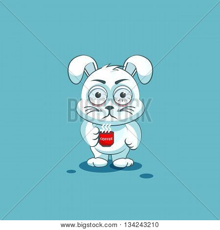 Vector Stock Illustration isolated Emoji character cartoon White leveret nervous with cup of coffee sticker emoticon for site, info graphic, video, animation, websites, e-mails, newsletters, reports, comics