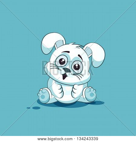 Vector Stock Illustration isolated Emoji character cartoon White leveret surprised with big eyes sticker emoticon for site, info graphic, video, animation, websites, e-mails, newsletters, reports, comics