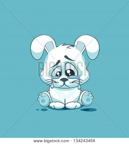 Vector Stock Illustration isolated Emoji character cartoon sad and frustrated White leveret crying, tears sticker emoticon for site, info graphic, video, animation, websites, e-mails, newsletters, report, comic