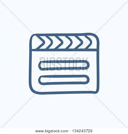 Clapboard vector sketch icon isolated on background. Hand drawn Clapboard icon. Clapboard sketch icon for infographic, website or app.