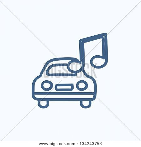 Car with music note vector sketch icon isolated on background. Hand drawn Car with music note icon. Car with music note sketch icon for infographic, website or app.