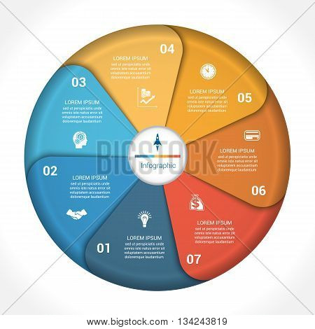 Template infographic seven position steps parts with text area vector illustration colourful in the form of flower petals. Business pie chart diagram data.