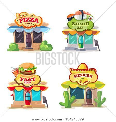 Vector pictures of food markets. European, Mexican, Itallian and japan food.