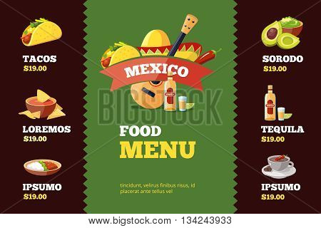 vector illustration of background restaurant menu template with traditional Mexican food. Tacos, burrito, tequila, guacamole, salsa