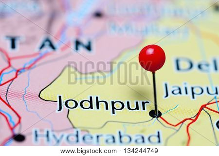 Jodhpur pinned on a map of India