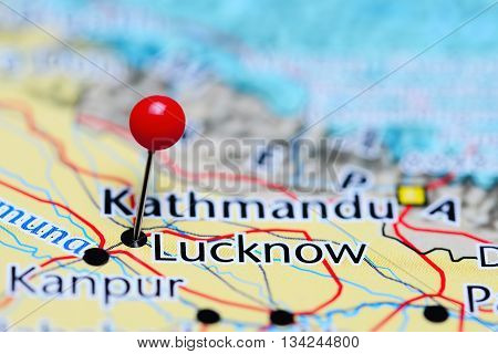 Lucknow pinned on a map of India