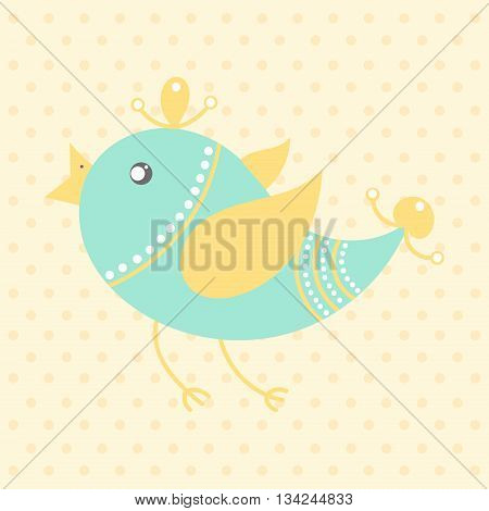 Cute bird in cartoon style on a dotted background. Funny little bird. Fauna symbol. Perfect for greeting cards design children's clothing.