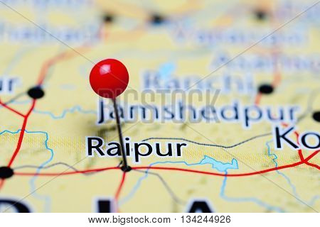 Raipur pinned on a map of India