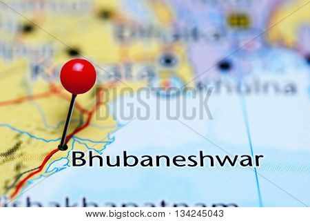 Bhubaneshwar pinned on a map of India