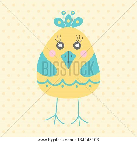 Cute yellow bird in cartoon style on a dotted background. Funny little bird. Fauna symbol. Perfect for greeting cards design children's clothing.