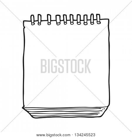 freehand drawn black and white cartoon notepad