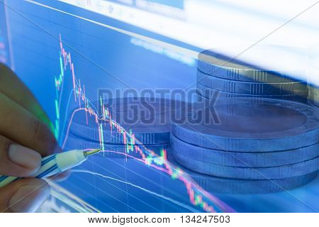 businessman and stock market graph and bar chart price display,Businessman failure in stock marketin blue style