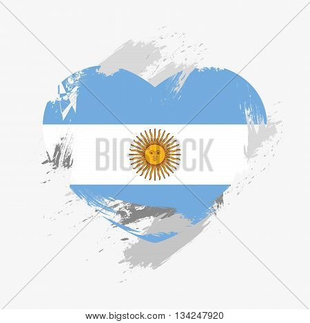 Vector Grunge Flag Of Argentina Isolated On Heart