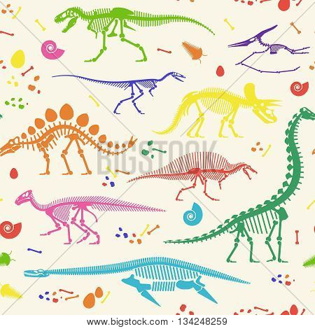 Pattern of Skeletons of dinosaurs and fossils. Vector illustration.