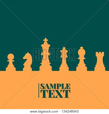Sports background of a set of chess pieces with space for text vector illustration.