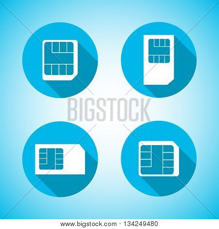 Set of round icons Sim card with a long diagonal shadow vector illustration.
