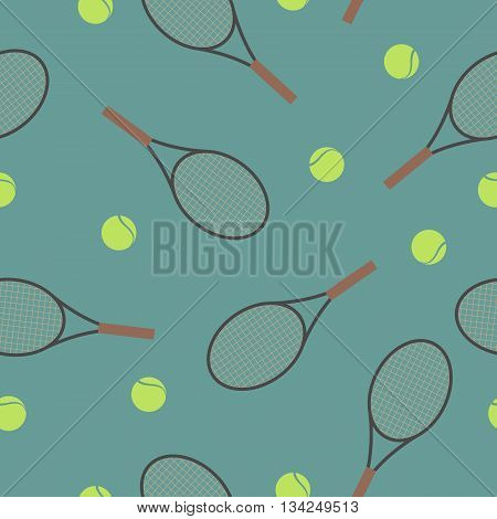 Sports Seamless background with elements of equipment for tennis racquet and Ball vector illustration.