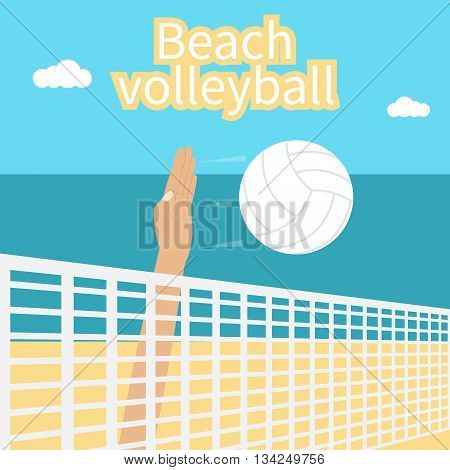 Beach Volleyball. Hand athlete beating at the volleyball ball. Template for the competition in volleyball. Can be used as a poster. Summer sports near the sea on the beach.