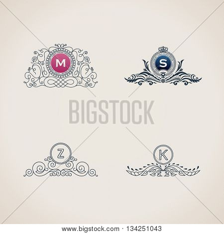 Calligraphic flourishes luxury monogram set. Line frame template logo for emblem. Design calligraphic menu, restaurant cafe, invitations, cards. Vintage line symbols M, S, Z, K. Raster copy