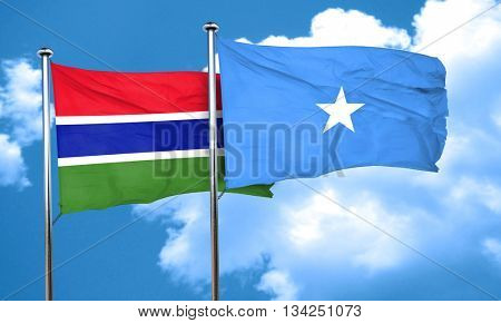 Gambia flag with Somalia flag, 3D rendering