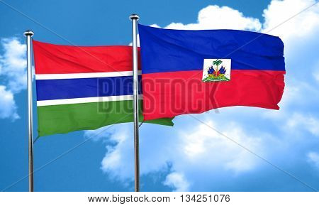 Gambia flag with Haiti flag, 3D rendering